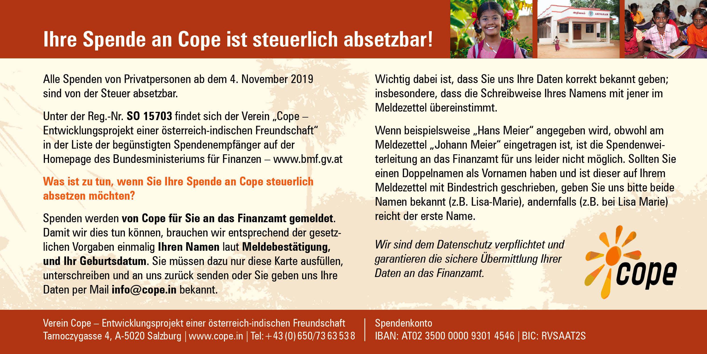 Spenden An Cope Sind Steuerlich Absetzbar!