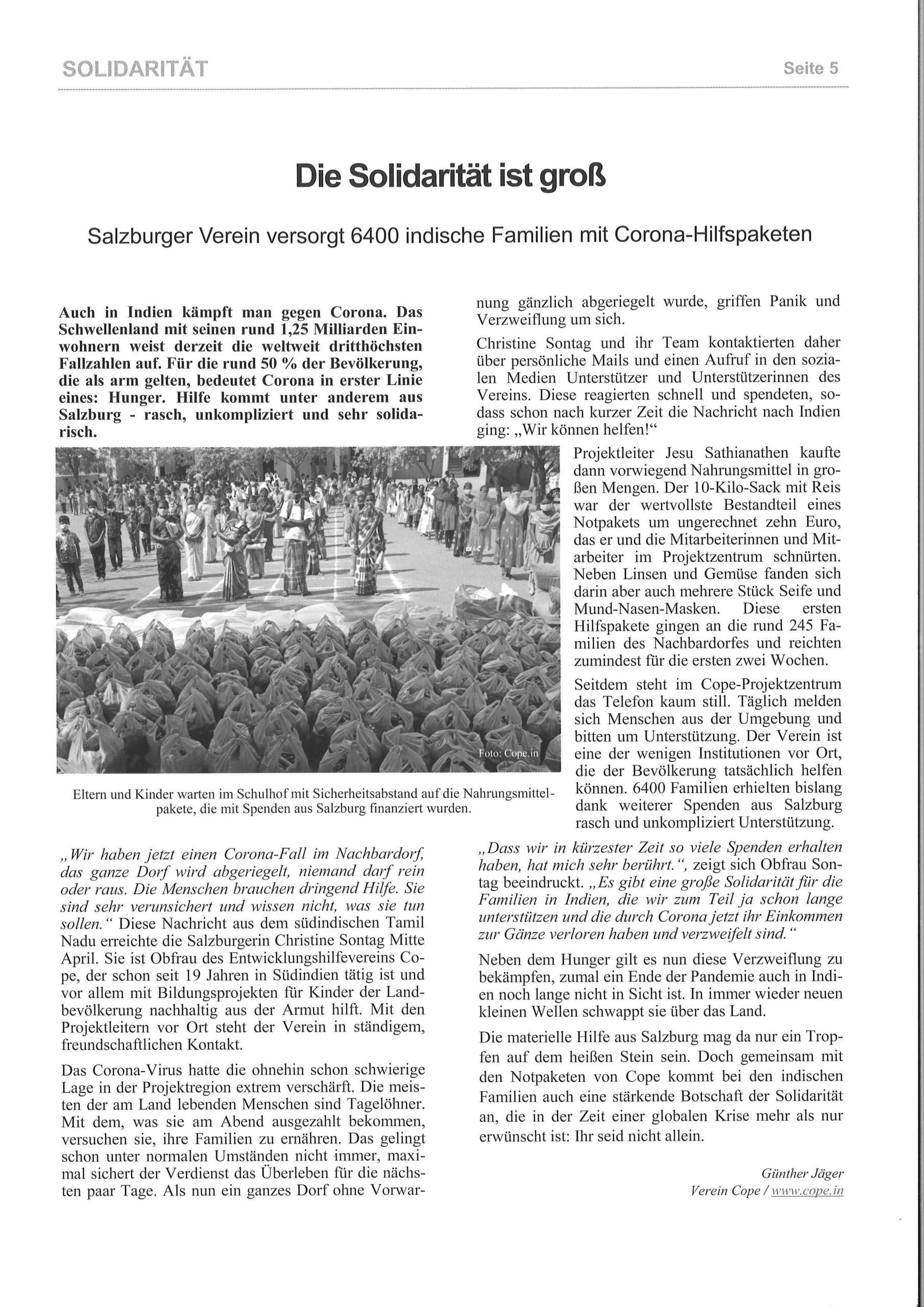 Die Solidarität Ist Groß. Zeitungsbericht DKWE Info